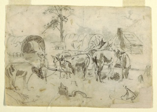 Recto: Horizontal view of a resting wagon train, with tethered mules;  tree and log cabin visible in background.    Verso:  horizontal view of a portion of a ship.