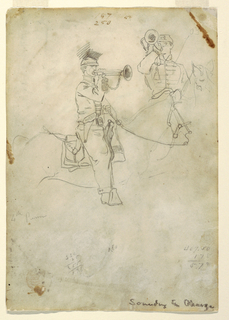 Recto:  Vertical views of a bugler, drawn from the side and full face, on horseback. Verso:  Quoit pitcher and cavalry officer.