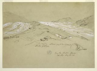 Drawing, Aletsch glacier, Bernese Alps, Switzerland, August 28, 1868