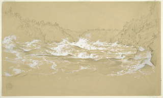 Recto: Horizontal view of  the rushing Niagara River with spray in white gouache as steep tree-covered river banks fill in at left, right and across the background.  Verso: Slight sketch of Niagara Falls