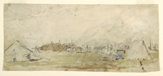 Horizontal view of an army encampment showing tents at right and left, in foreground; a line of tethered horses, in left middle ground; and additional tents suggested in background; verso: sketches of human and horse legs.