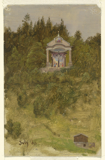 Distant view of the pavilion containing the three crosses in front of a painted background, the slope of the Lockstein.  Grazing sheep or goats and a house are shown at the right bottom.  Dated bottom left.  An account is written with pencil in the left bottom part.