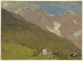 A mountain with a glacier in the hollow center, and with cloud-capped peaks at left, rises in the right and central rear. A wooded slope is shown in the middle distance. A church with a well in front of it and a house with laundry hanging out are shown in the foreground.