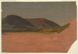 Horizontal sheet depicting a small farm nestled between wooded hills in the middle distance.  Indications of rocks in the foreground (unfinished). Scene probably shown in light of the late afternoon. Verso: Sketch of a man's overcoat.