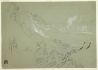 Recto:  The Falls shown from the bottom of the American bank, to which a stairway leads from above.   Verso: Very rough sketch of a tree trunk leaning against a tree; a man climbs upon the first one.