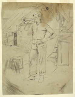 Recto: Vertical view of a man wearing a Zouave's cap and blowing a bugle. Verso:  Figures of women and a flight of steps.