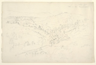 """Recto: a broad hilly landscape vista, with a stream in the centre, flowing into the foreground. Houses shown. Dated, upper right: """"Sep 1844"""" and below: """"View of the Kaanterskill"""". Lower right: """"woods,"""" """"gravelly beach."""" Verso: A farmer seen from the back (shown twice) and a large tree in leaf. Dated, centre: """"Oct 1844."""""""
