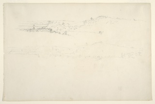 Horizontal distant views of a wooded hill range at top and center, and a house standing at its base at right.