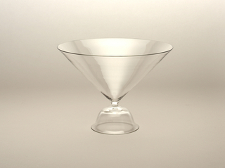 Thin-walled, clear glass; conical bowl on low, bell-shaped foot.