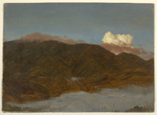 View of a mountain range across clouds in a valley.  Dated at the bottom.