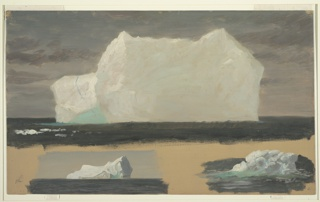 Seascape drawing with one large-scale and two small-scale iceberg designs shown on top and at the bottom, respectively. The brownish ground color is visible around the lower designs.