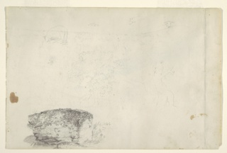 Recto:  Horizontal study showing in the top row a grazing lamb seen obliquely from the left hind leg, a detail view and two views of heads of lambs; a big tree and a house as well as the trunk of a tree in center row; and a study at bottom left a boulder with growth on it.