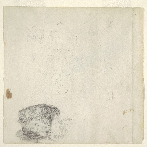 Recto:  Horizontal study showing in the top row a grazing lamb seen obliquely from the left hind leg, a detail view and two views of heads of lambs; a big tree and a house as well as the trunk of a tree in center row; and a study at bottom left a boulder with growth on it.  Verso:  Seen vertically the trunk of a birch whose upper part is hidden by another tree.