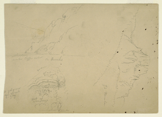 Drawing, Three sketches of steep mountainous banks of the Danube, 1868