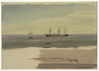 Drawing, Steamship and sailing craft, July 1859