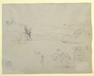 Horizontal view of water bordered laterally by wooded rocky slopes, and by hills and mountains in the background, at top; and a possible fissured rock and detailed sketch of a bank inscired with figures, at bottom.