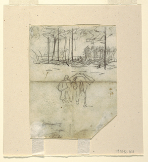 Recto: Vertical sketch of a group of trees partially drawn over accounts and a soldier leading a horse. Verso: Horizontal sketches of a soldier and two artillery horses, and in opposite direction, hasty sketches of soldiers marching.