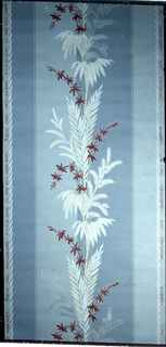 A central floral stripe. Printed on a background of wide blue stripes, alternating light and medium blue. A narrow foliate stripe along either edge. Printed in shades of red, white, yellow and silver mica.