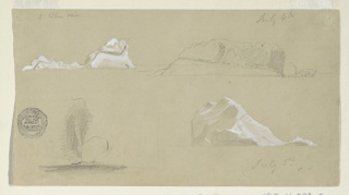 Four sketches of icebergs, two highlighted with contrasting white gouache.