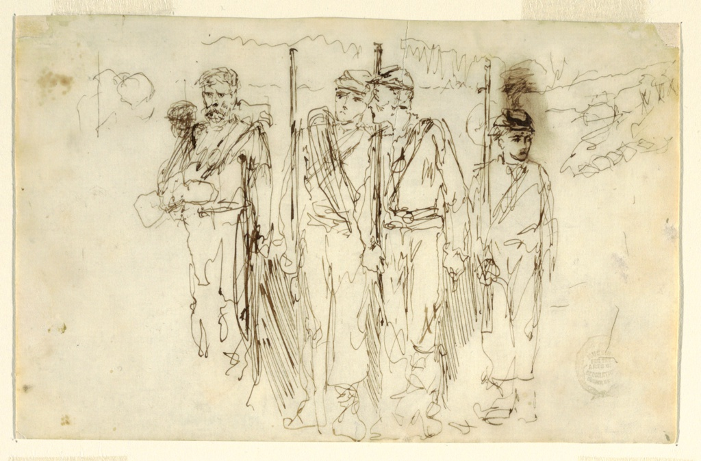 Horizontal loosely drawn sketch of four soldiers: three holding muskets upright and one, at left with a beard and moustache, holding his rifle at his side. The soldier at right is smaller than the others and looks right. The middle soldier looks left.