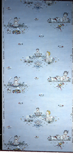Children's paper with babies with animals and toys in white, yellow, and red on a light blue ground.