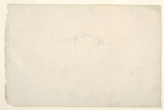 """Recto: study of a cow's head, sketched in outline only. Verso hill profile with effect of setting son on clouds. Dated, upper right: """"Nov 1844"""" and below: """"yellow"""", """"sky dark blue yellow and red (neutral) sky"""", """"yellow edges bright"""", """"light clouds floating about warm and cool."""""""