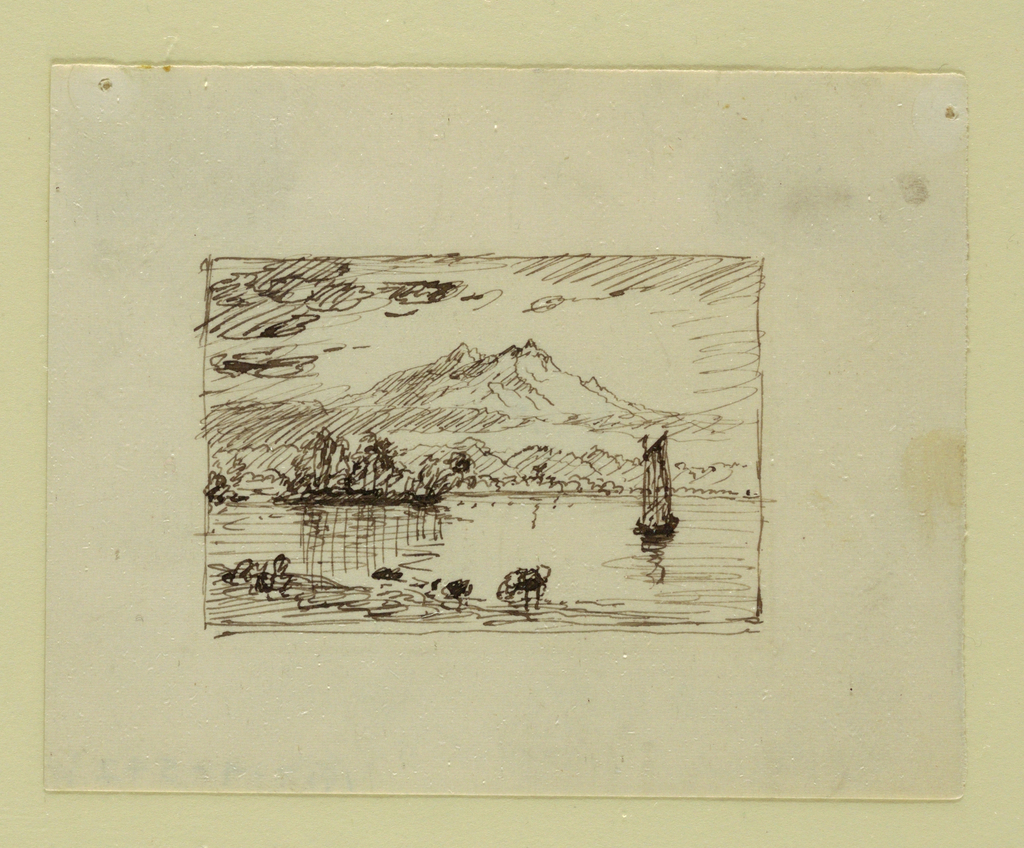A mountain with a shore shown in the left foreground and in the water a sailboat  to the right.