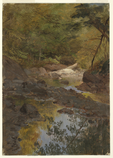 Horizontal view showing a mountain stream between wooded banks.  In the foreground the water, separated from the stream by a stone wall, reflects the trees and sky.