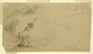 Recto:  Horizontal view of a cloudy sky seen over a range of hills Verso:  Horizontal view of cloudy sky seen over hill tops with a group of trees growing upon the one at left.