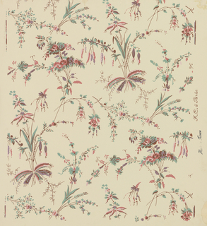 "Reproduction of wallpaper inspired from Pillement's designs. Used in the restoration of George Washington's home in Mount Vernon, Virginia, in Hall Bedroom. The design is an asymmetrical arrangement of delicate floral motifs based upon the Far Eastern florae. Printed in rose, mauve and green on ivory field. Printed in selvedge: ""Made in France, R.C. a Paris."""