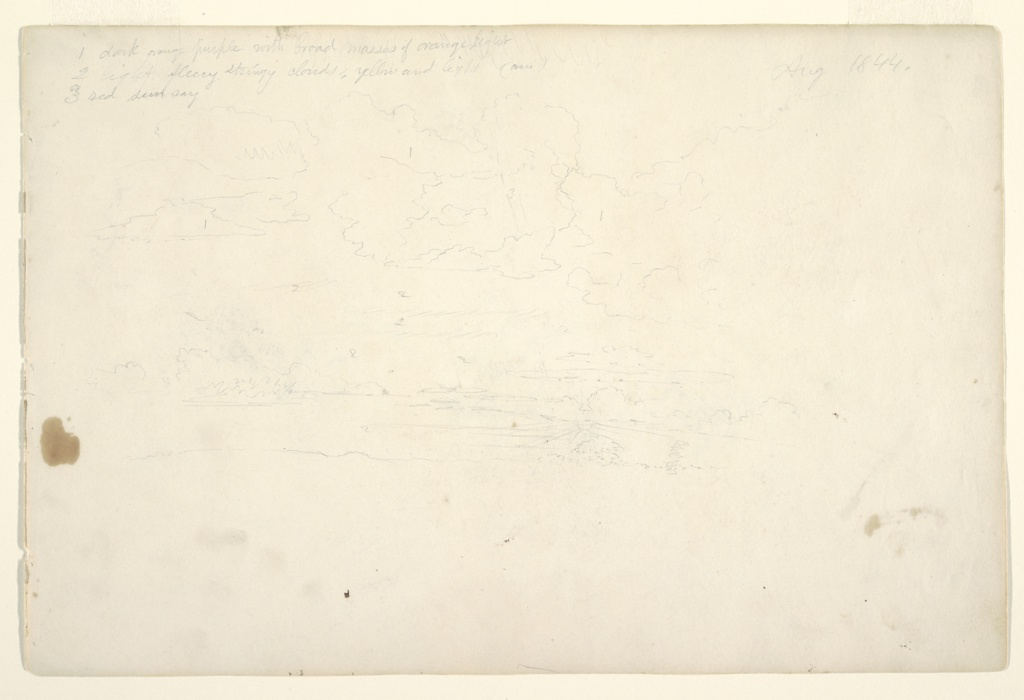 Recto:  Horizontal view of cloud studies with a setting sun surrounded by rays.  Verso:  Two sleeping pigs.