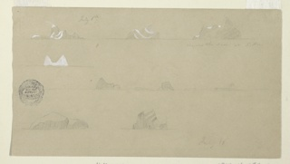 At top, distant views of three icebergs. Second row: distant view of an iceberg. Third row: distant view of five icebergs. Bottom row: two drawings of a single iceberg.