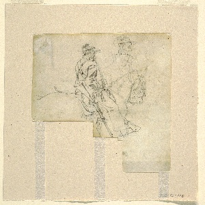 Almost three-quarters view of mounted officer seen from the right rear in foreground and at right background a slight sketch of the head and shoulders of the same figure, seen from the front.