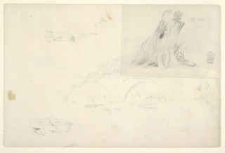 Recto: Horizontal sheet containing a cow lying down and a second cow head at upper left; a large tree stump at upper right; cows standing in water beneath twin arches of a bridge at lower center, and a large rock at lower left.