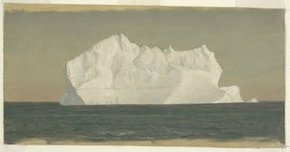 Large iceberg at center on dark blue gray sea. Most of the iceberg consists of a compact horizontal mass. The underpainting shows at top and across bottom.