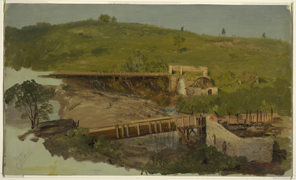 Drawing, Hill with Viaducts and Ruined Mills, Near Catskill, New York
