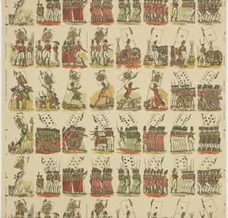 Groups of soldiers of different European nationalities arranged in horizontal rows. Each group displays a large banner in the form of a playing card. A) Black and White; B) Blue, pink, yellow on off-white ground; c) Red, green, yellow on cream ground.