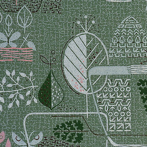 Printed in pink, white and dark green on a medium green ground, images of butterflies, plant sprigs, leaf sprigs mixed with different geometric shapes.