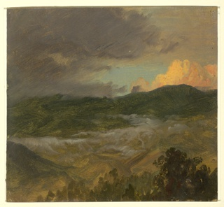 Distant view across and looking towards mountains. Tops of trees are seen in the foreground. Dark and reddened clouds stand in the sky. Mist is shown in the middle distance.