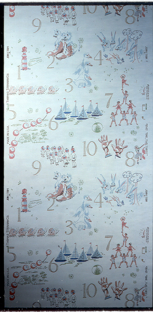 Children's paper of numbers from 1-10 illustrated by sailboats, ducks, bunnies, snails, hands, human figures in pyramids, and small flowers. Printed in blue, pink, tan, and brown on a white ground.