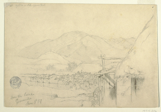 Horizontal study showing the corner of the inn at right; a low wall, hills, and mountain ranges stretch toward the left from behind the corner.