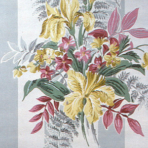 Bouquet of yellow lilies, pink flowers, and green and grey leaves on a wide grey stripe of 2 and 1/4 inch width on a cream ground.