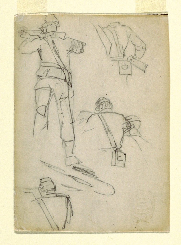 Vertical studies of soldier taking aim.
