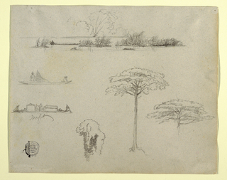 Recto:  Horizontal view containing sketches from Colombia, South America: at top, a river or a bay landscape showing grassy islets and a raft in the foreground; at center left, two rafts with the upper one with a rail and two men, while the lower one carries a donkey and two huts and two men work on prow and stern, respectively; at right a tree is flanked by two tree tops.