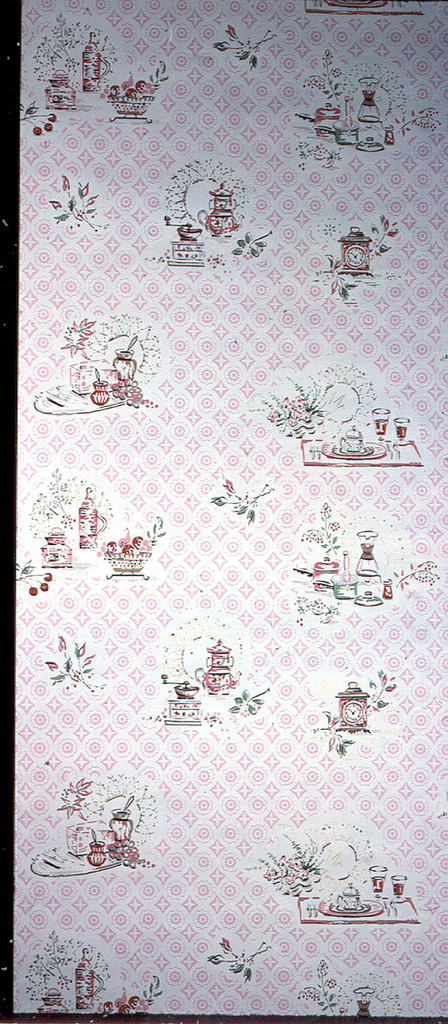 Kitchen paper with groupings of kitchen utensils such as a teapot, jars, and a clock with examples from both yesteryear and modern times so a coffeegrinder is in one grouping and a modern coffee pot is in another. The objects are pink, red, tan, and white with metallic gold highlights on a pink-beige ground.