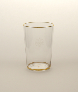 Mouth-blown crystal water tumbler, hand-painted gold rims and engraved Habsburg crest.