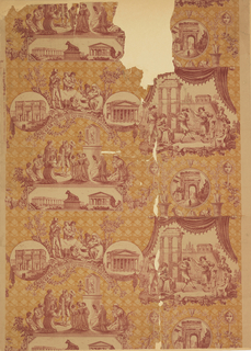 Scenes of Rome, copied from a Huet toile textile. Printed in red and ocher on a tan ground.