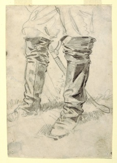 Recto:  Vertical view of the lower legs of man wearing knee-high boots and standing in grass; a sheathed sword hangs behind his legs; verso: foreshortened view of a man, with closed eyes, wearing a hat and lying on ground.
