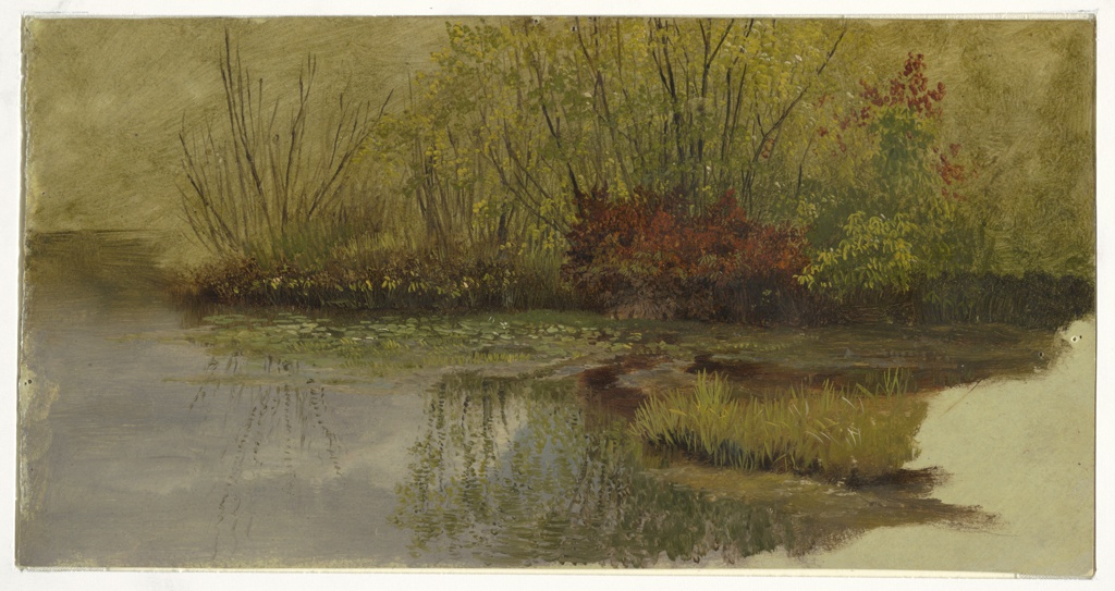 A study of a patch of grass and red foliage is presented on the edge of a pond. The foliage is reflected in the water below which fills the foreground. The gray color at lower right is the color of the paint ground the artist applied before beginning the oil sketch.