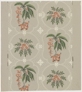 Reproduction of a period paper, printed by Nancy McClelland. Used in Lafayette Bedroom at Mount Vernon, Virginia. Two alternating medallions. The circular one encloses a cluster of flowers with small branches of small leaves. Oblong medallion contains a spray of swinging flowers and fruit with long serrated leaves. The ground between medallions is covered with geometric motifs and tiny dots and dashes. Printed in apricot, green, black and ivory on gray ground.